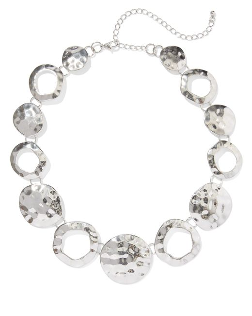 New York & Company - Metallic Hammered Disc Statement Necklace - Lyst