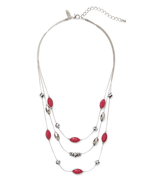 New York & Company - Metallic Beaded Illusion Necklace - Lyst