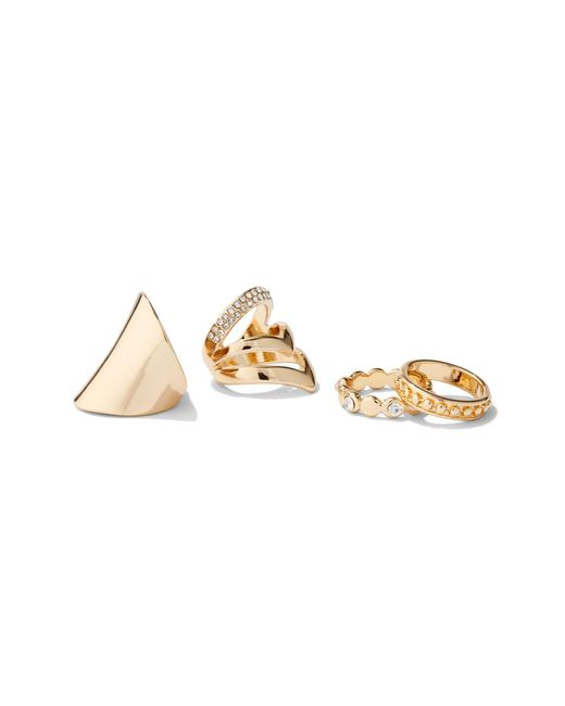 New York & Company - Metallic 4-piece Pave Goldtone Ring Set - Lyst