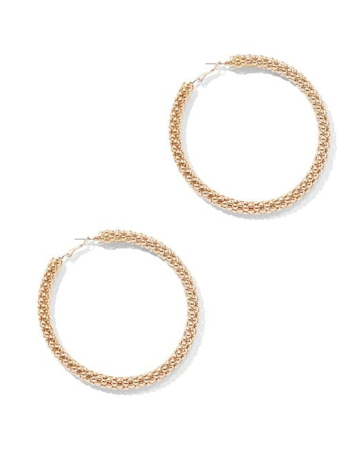New York & Company - Metallic Goldtone Link Hoop Earring - Lyst