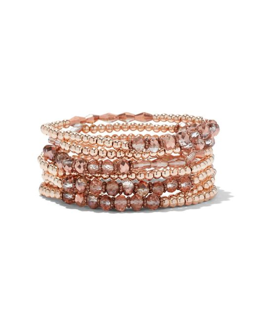 New York & Company - Pink 7-row Beaded Stretch Bracelet - Lyst