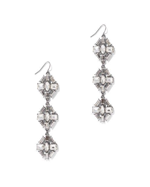 New York & Company - Metallic Dazzling Silvertone Drop Earring - Lyst