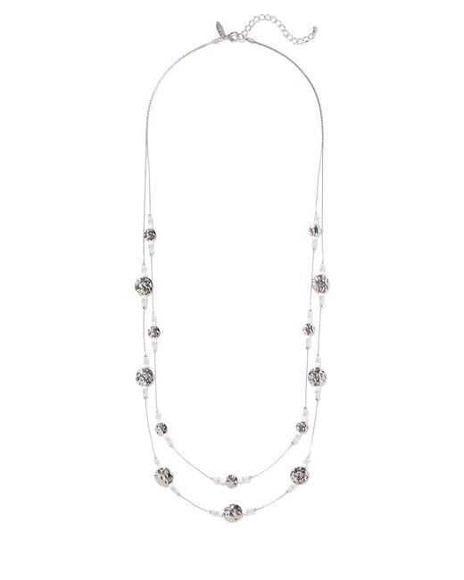 New York & Company - White Sparkling 2-row Illusion Long Necklace - Lyst