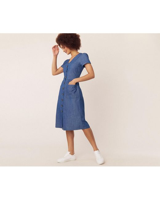 5d0f9a2ed462 Oasis - Blue Denim Midi Dress - Lyst ...