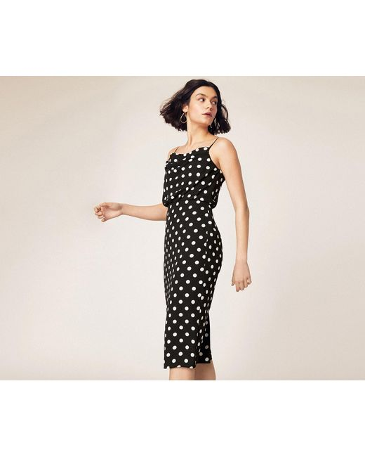 d93223cf1150 Oasis - Black Spot Cowl Neck Midi Dress - Lyst ...