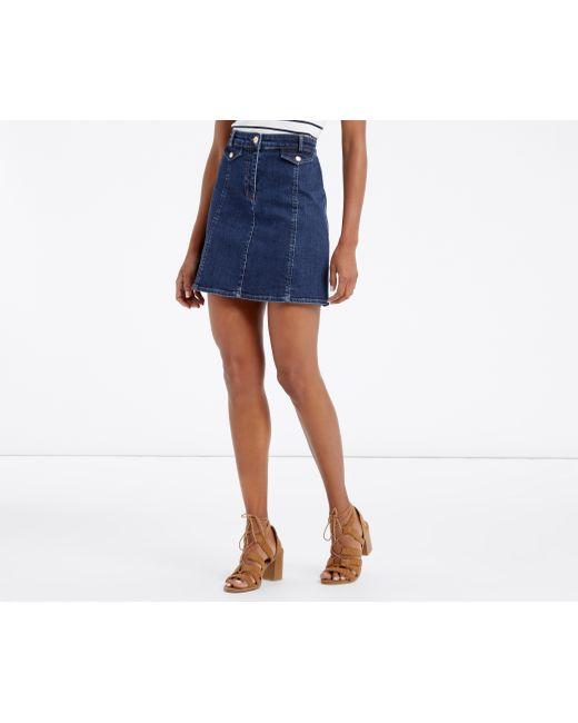oasis pocket detail denim skirt in blue wash lyst
