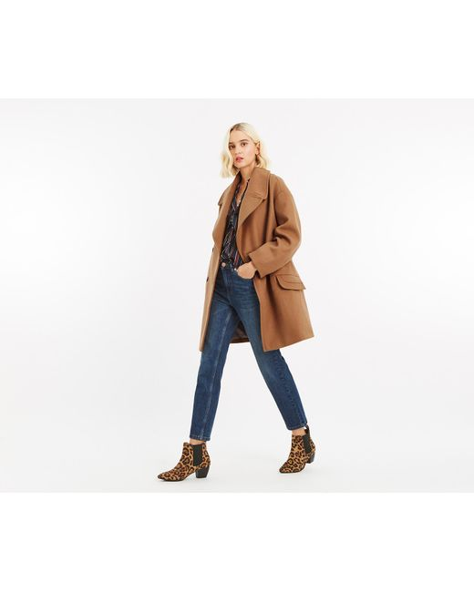 Oasis - Brown Jasmine Relaxed Coat - Lyst