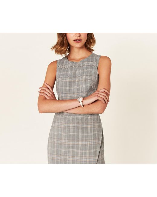 Oasis - Gray Long Check Tailored Dress - Lyst