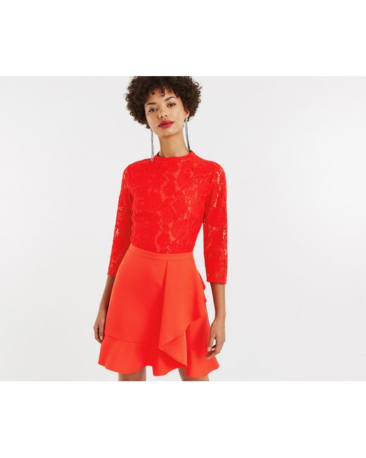 a157c31df02d Oasis - Red Lace Flounce Shift Dress - Lyst ...