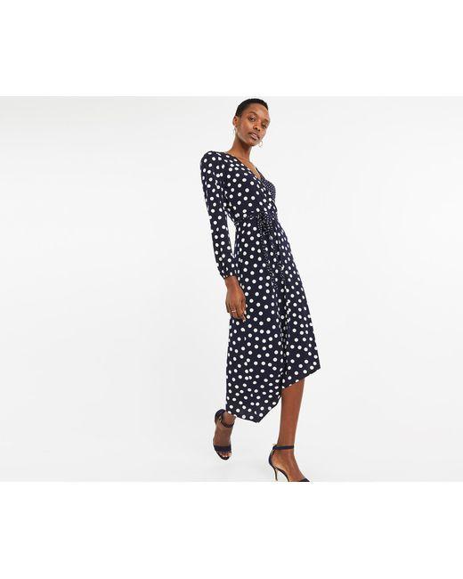 0e980fdd93c8 Oasis - Blue Spot Wrap Midi Dress - Lyst ...