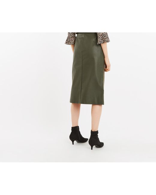 a8117f604f ... Oasis - Green Faux Suede Midi Skirt - Lyst ...