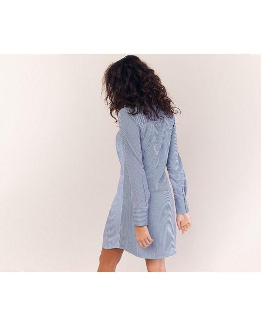 b1828c77fbb5 ... Oasis - Blue Multicoloured Stripe Twist Shirt Dress - Lyst ...