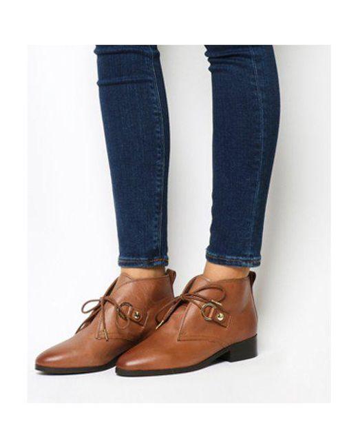 e925ee77d778f Lyst - Office Larkin Lace Up Flat Boots in Blue