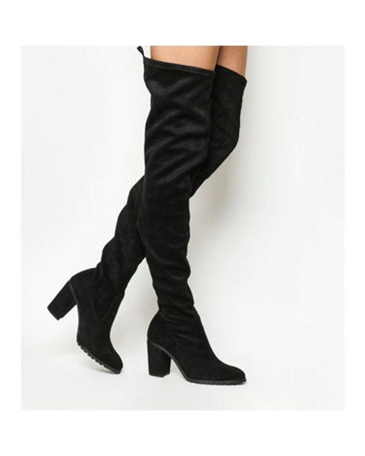 Office Black Ka Pow Block Heel Over The Knee Boots Lyst