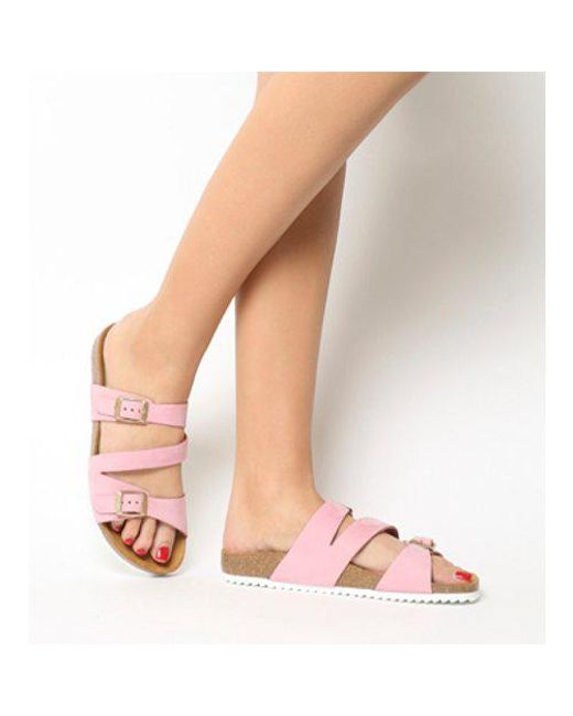 8be5a8ff1217 Lyst - Office Bounty Cross Strap Footbed in Pink