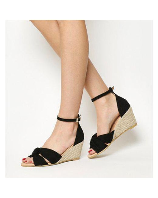 2349dc061faeb Office Mauritius Knot Front Wedge in Black - Lyst
