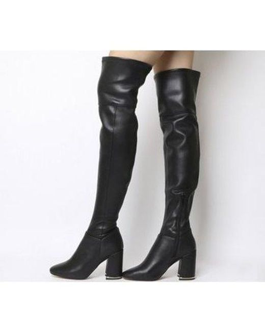 e1a4abf4f29 Office Katch- Block Heel Over The Knee Boot in Black - Lyst