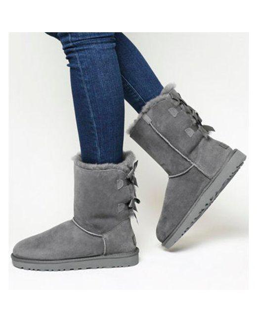 Ugg - Gray Bailey Bow Ii Calf Boots - Lyst