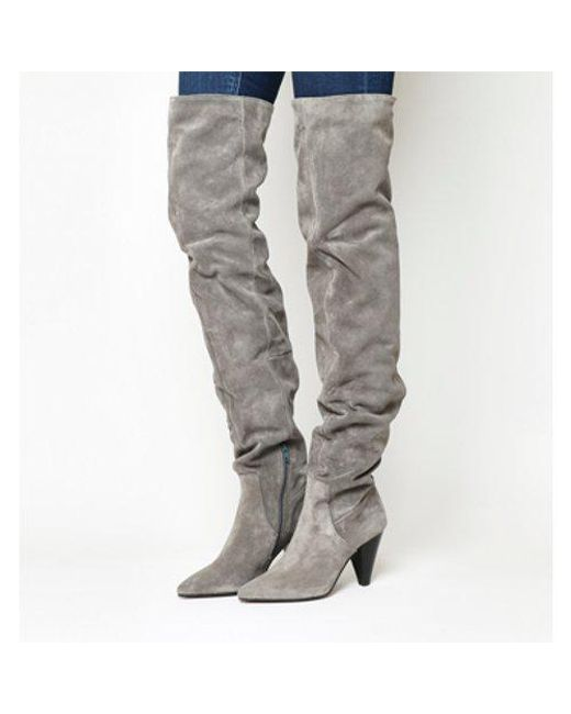 Office Gray Kone Slouch Over The Knee Boots Lyst