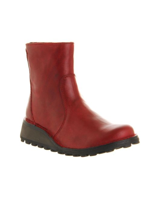 Fly London | Red Masi Low Wedge Ankle Boots | Lyst