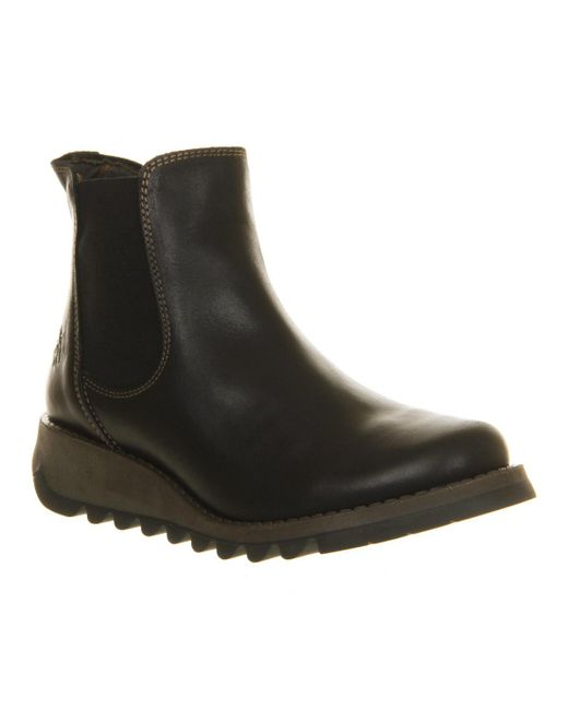 Fly London | Black Salv Low Wedge Chelsea Boots | Lyst