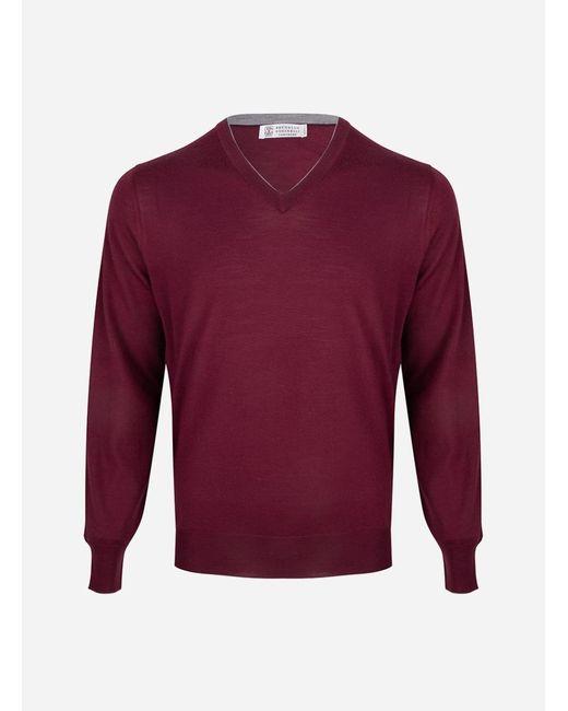 Brunello Cucinelli - Purple Regular-fit V-hals Wol-cashmere Trui Bordeaux for Men - Lyst