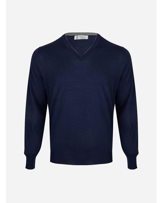 Brunello Cucinelli - Blue Regular-fit V-hals Wol-cashmere Trui Donkerblauw for Men - Lyst