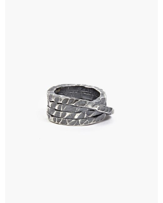 Denis Music | Metallic Oxidised Silver Moebius Large Cross Ring for Men | Lyst