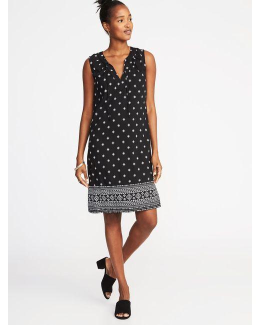 Old Navy - Black Sleeveless Tie-neck Shift Dress - Lyst