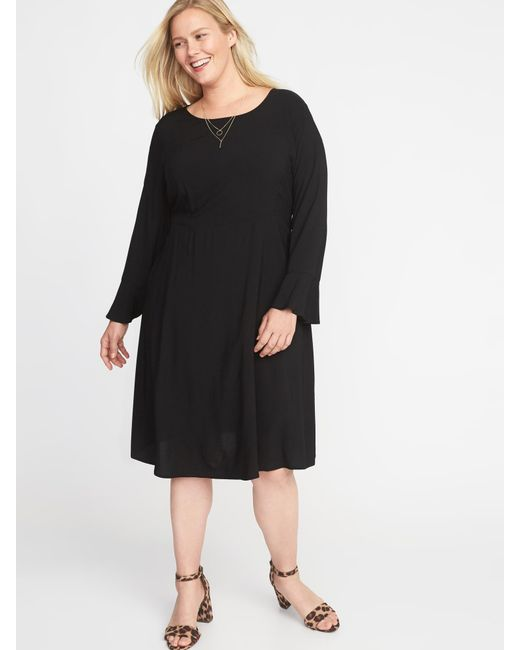 Lyst Old Navy Fit Flare Flute Sleeve Plus Size Dress In Black