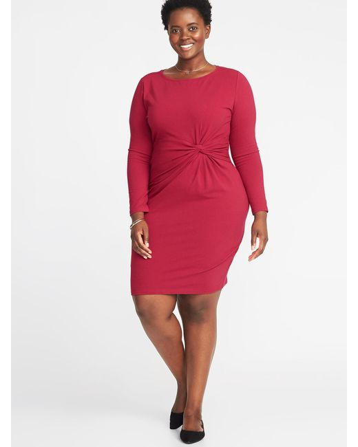 Lyst Old Navy Plus Size Twist Front Bodycon Dress In Red