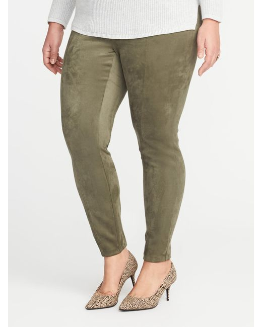 Old Navy - Green High-rise Plus-size Sueded Stevie Pants - Lyst