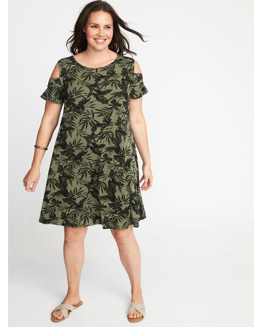 Lyst Old Navy Plus Size Cold Shoulder Swing Dress In Green