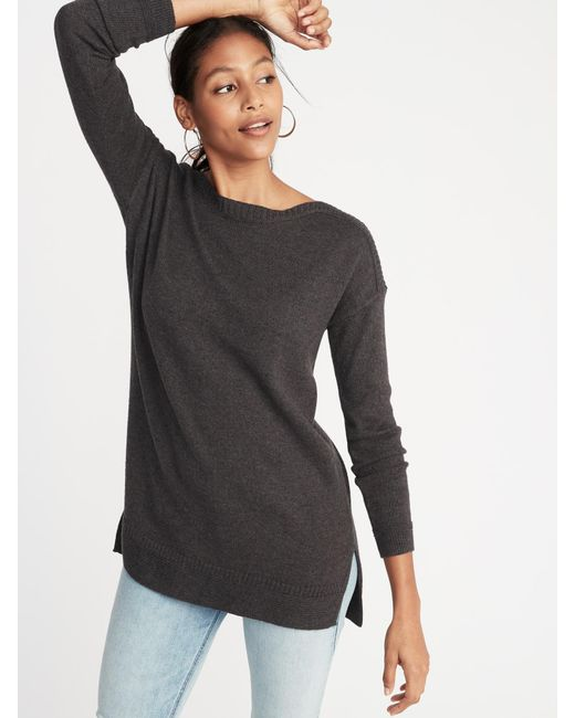 Old Navy - Gray Plus-size Curved-hem Sweater - Lyst