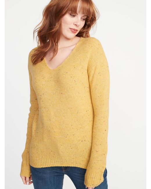 b7e9ad5663c Lyst - Old Navy Plus-size Cozy V-neck Sweater in Yellow - Save 16%