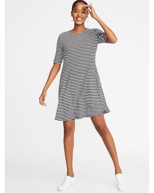 Old Navy Jersey Elbow-sleeve Plus-size Swing Dress in Black - Save ...