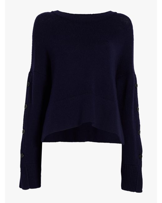 Jason Wu - Blue Merino Button Sleeve Sweater - Lyst