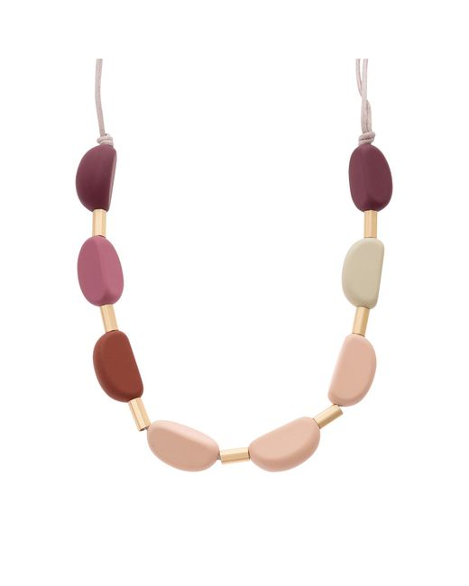 Oliver Bonas - Lorine Pink Rubber Coated Bead Necklace - Lyst