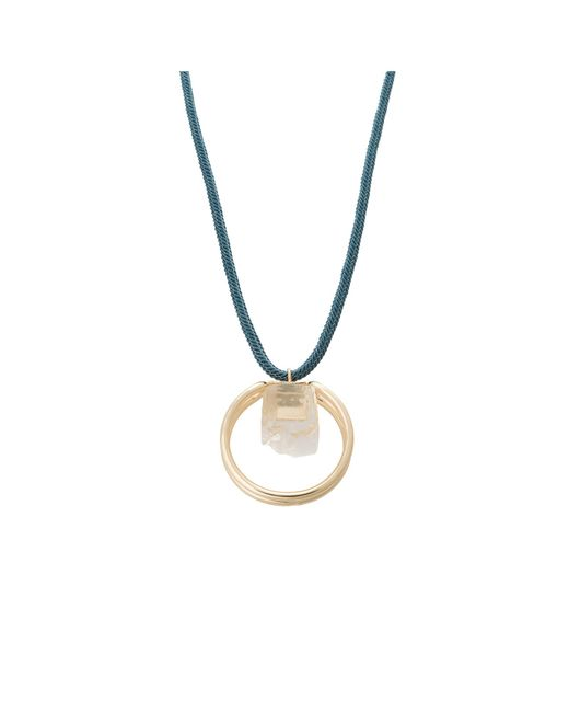 Oliver Bonas - Blue Roa Textured Rope & Bead Pendant Necklace - Lyst