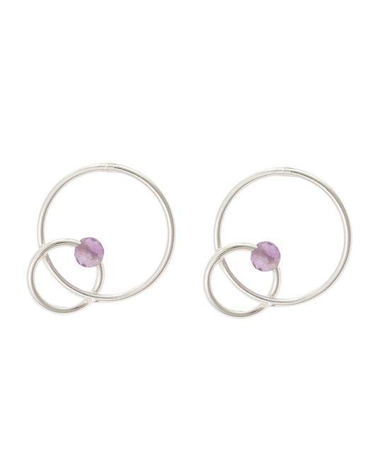 Oliver Bonas - Metallic Aria Interlink Circle & Amethyst Silver Stud Earrings - Lyst