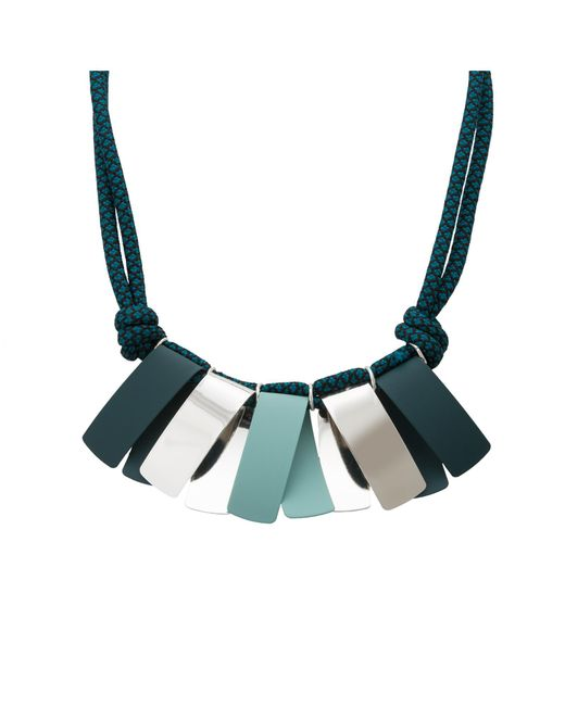 Oliver Bonas - Blue Mariana Folded Fan Cord Necklace - Lyst