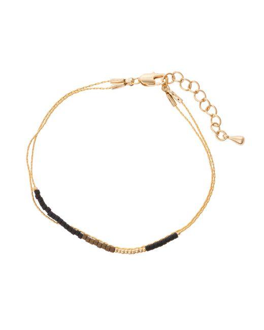 Oliver Bonas - Black Morel Tiny Bead & Chain Bracelet - Lyst