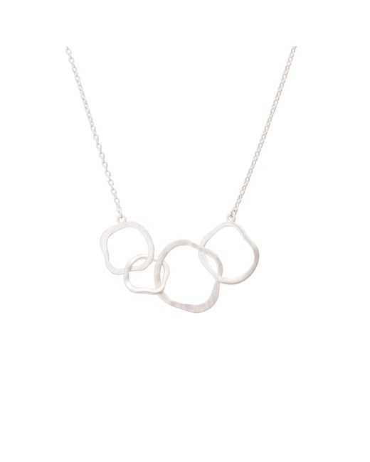 Oliver Bonas - Metallic Ellie Textured Organic Rings Silver Necklace - Lyst