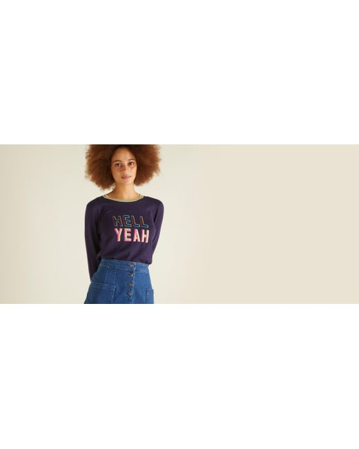 90cc3c4c06 ... Oliver Bonas - Blue Hell Yeah Embroidered Navy Jumper - Lyst ...