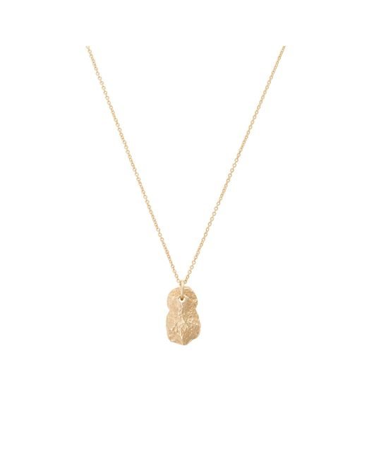 Oliver Bonas - Metallic Yurok Textured Double Charm Gold Plated Pendant Necklace - Lyst