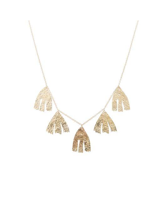 Oliver Bonas - Metallic Fiorella Leaf Tassel Gold Plated Necklace - Lyst