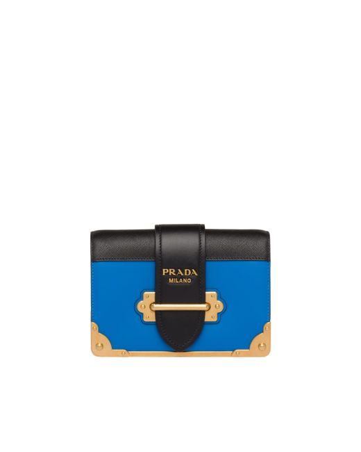 f08eac55c815 Prada Cahier Calf Leather Bag in Blue - Save 33% - Lyst
