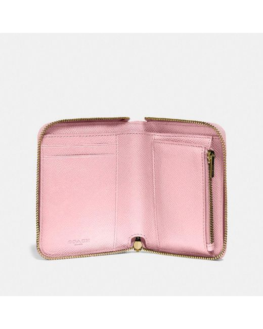 f1c0f22ebf52 ... COACH - Pink Small Zip Around Wallet - Lyst