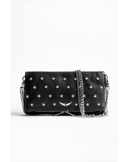 Zadig & Voltaire - Black Rock Star Studded Leather Clutch - Lyst