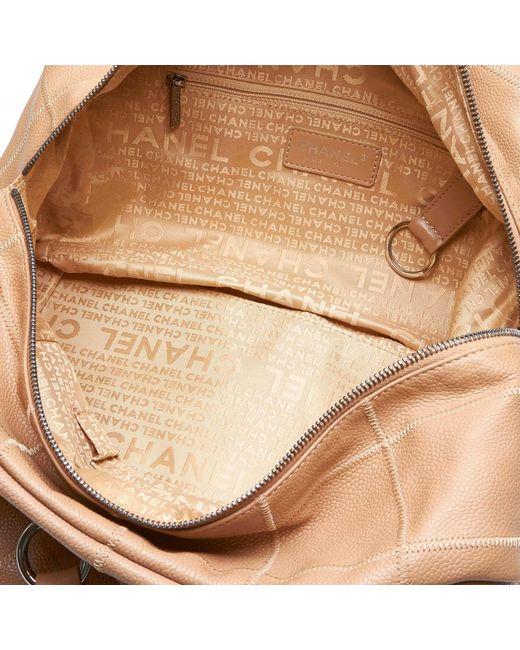 f2987b3091f6f9 ... Chanel - Brown Choco Bar Caviar Leather Shoulder Bag - Lyst ...